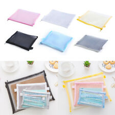 Clear Exam Pencil Case Transparent Simple Mesh Zipper Stationery Bag School New~