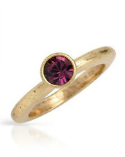 NEW PILGRIM SKANDERBORG, DENMARK Purple Crystal Ring in Yellow Base Metal