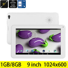 9'' Tablet PC Android 5.1 Quad-Core 1+8GB Dual Camera Bluetooth WiFi 3G OTG US