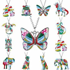 Fashion Printing Enamel Animal Dog Cat Owl Butterfly Pendant Necklace Xmas Gift