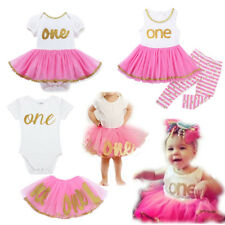 Infant Baby Girl Tutu Dress Skirt Shiny One Year Romper/Striped Pants Outfit Set