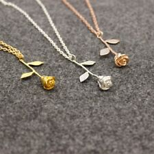 Valentine's Day Delicate Rose Flower Pendant Necklace Beauty Jewelry + Gift Bag