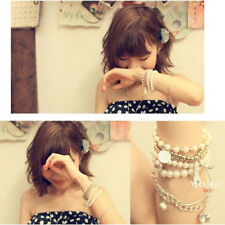 Fashion Boho Women Jewelry Pearl Beaded Chain Charm Bangle Multilayer Bracelet