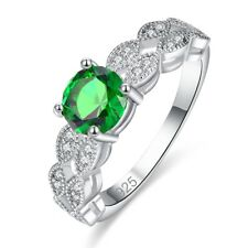 Green Emerald Wedding Banquet Silver Ring Round Cut Emerald Quartz Gems Jewelry