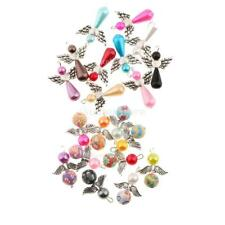 10pcs Mixed Angel Charms Pendant Teardrop/Round Pearl Beads Silver Wings Jewelry