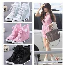 Korea Fashion High Top Heels Sneakers Womens Casual Wedge Mesh Hollow Out Shoes