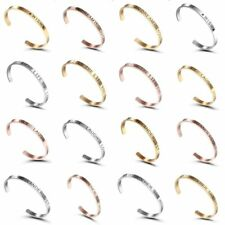 Fashion Stainless Steel Rose Gold Silver Letter Cuff Bangle Bracelet Jewellery