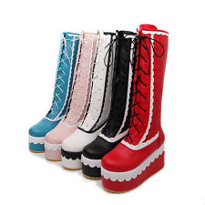 Womens Creeper Platform Lace Up Roma Floral Wedge Heel Knee High Boot Shoes Plus