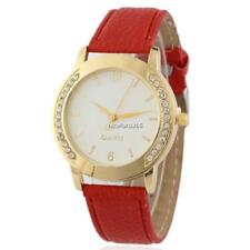 Women Rhinestones Round Watch Synthetic Leather Band Analog Quartz Wrist N4U8