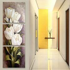 Canvas Print Floral Wall Hanging White Tulip Flower Painting For Home Decor