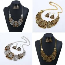 Gold/Silver Leopard Exaggerated Pendant Bib Chunky Necklace Earrings Jewelry Set