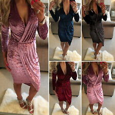 Womens V Neck Crushed Velvet Bodycon Midi Evening Party Dress Cocktail Clubwear