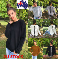 Plus Size Women Long Sleeve Sweatshirt Back Lace Up Knitted Pullover Jumper Tops