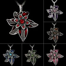 Rhinestone Crystal Flower Pendant Necklace Silver Long Sweater Chain Party Gift