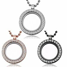 25MM Round Crystal Living Memory Floating Locket Charms Glass Necklace Pendant