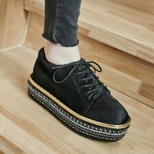 New Fashion Womens Platforms Creepers Lace Up Med Wedge Heels Shoes Casual Hot
