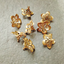 Handmade Jewelry Finding Solid Brass Filigree Lily Flower Bead Cap be46