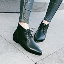 Fashion Womens Oxfords Lace Up Pointy Toes Low Block Heels Formal Shoes
