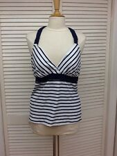 Lands' End V Neck Ties At Back, White/Blue Striped Tankini Top, Sz.10 & 12, NWT