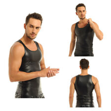 Mens Faux Leather Top Vest Sleeveless Muscle Tank Tee Shirts Sports Undershirt