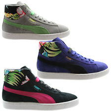 Puma Suede Mid Classic+ Tropicali Womens Mens Trainers Black Grey Blue (356152)