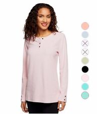 NEW DENIM & CO. Baby Sherpa Henley Tunic with Side Slits Many Sizes 240523RM