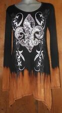 nwt VOCAL SHIRT rhinestones FLEUR  LIS ombre TUNIC Vintage western SM MD LG top