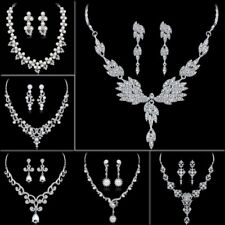 Elegant Crystal Pearl Filled White Gold GP Necklace Earrings Wedding Jewelry Set