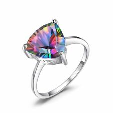 Natural Solid 925 Sterling Silver Rainbow Fire Mystic Topaz Ring