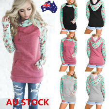 Plus Size Women Floral Hooded Sweater Shirt Long Sleeve Pullover Jumper Tops