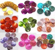 Wholesale 50Pcs Lot Multi-color Mussel Shell Flat Round Coin Charm Beads 18mm