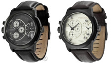 Police Viper Chronograph Leather Strap Mens Watch Black Brown Beige