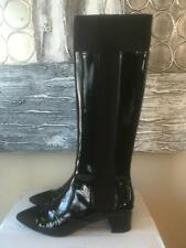 CHANEL 17B Patent Leather Stretch Knee High Tall Boots Heels Shoes Black $1450