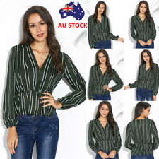 Women V Neck Wrap Crop Tops Ladies Long Sleeve Striped Shirt Causal Loose Blouse