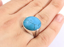 Blue Natural Large TURQUOISE Gemstone in Solid 925 Sterling Silver Mens Ring