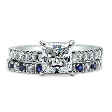 Silver Princess Cubic Zirconia CZ Solitaire Engagement Ring Set 2.66 CT