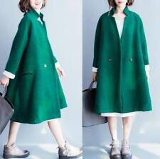 Womens Wool Blend Double Breasted Lapel Parka Outerwear Loose Jacket Coats