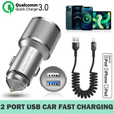 5.4a Apple Car Charger w/ Coiled USB Charging Cable For iPhone 8 7 6s Plus 5S-US