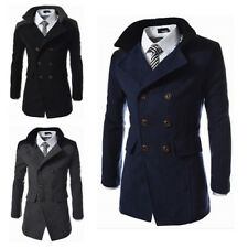 Men Double Breasted Overcoat Strench Parka Business Formal Coat Jacket Outwear