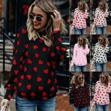Plus Size Women Winter Heart Printed Long Sleeve Shirt Casual Loose Tops Blouse