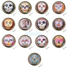 Skull Print Round Pull Knob Kitchen Cabinet Wardrobe Drawer Dresser Door Handle