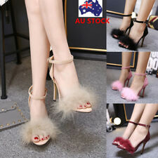 Women Block High Heels Stiletto Sandals Ankle Strap Fluffy Fur Open Toe Shoes