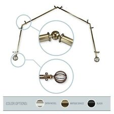 """Wire Ball 13/16"""" 4-Sided Bay Window Curtain Rod 28-48 inch (each side) - 3colors"""