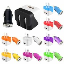Mini Travel Home Wall Charger+DC Car Charger Adapter For Mobile Cellphone