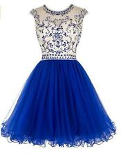 US Women Beaded Prom Dress Short Tulle Homecoming Dress Hollow Back Party Dress