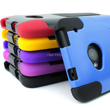 For HTC One M7 Hybrid Armor Hard Soft Phone Case Cover Y Kickstand Accessory