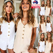 Women Front Button Jumpsuit Overalls Shorts Pants Romper Summer Holiday Playsuit