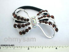 1 NEW SILVER COLOR METAL BOW DES / MULTICOLOR STONE ON ELASTIC HAIR TIE PONYTAIL