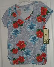 PALM HARBOUR KNIT TOP SHIRT SIZE PS BLUE RED FLORAL STRETCH NWT
