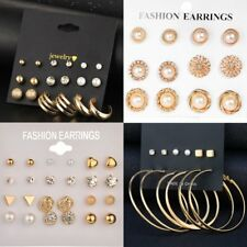 Gold Crystal Pearl Ear Clip Clamp Stud Ear Earrings Set Lady Spring Jewelry Gift